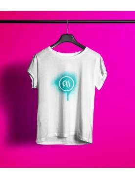 Damski T-shirt LOGO - turkus